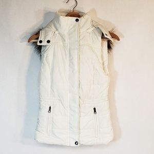American Rag Vest Zip Off Hood White XXS